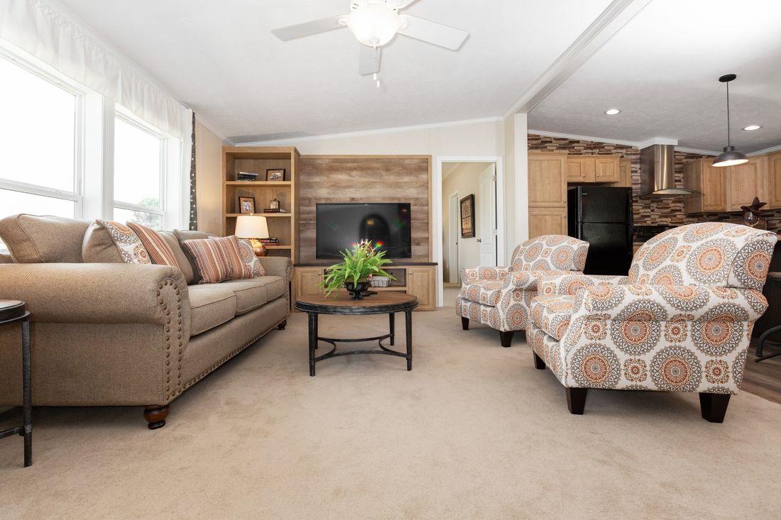 The SHEER ELM Living Room. This Manufactured Mobile Home features 3 bedrooms and 2 baths.
