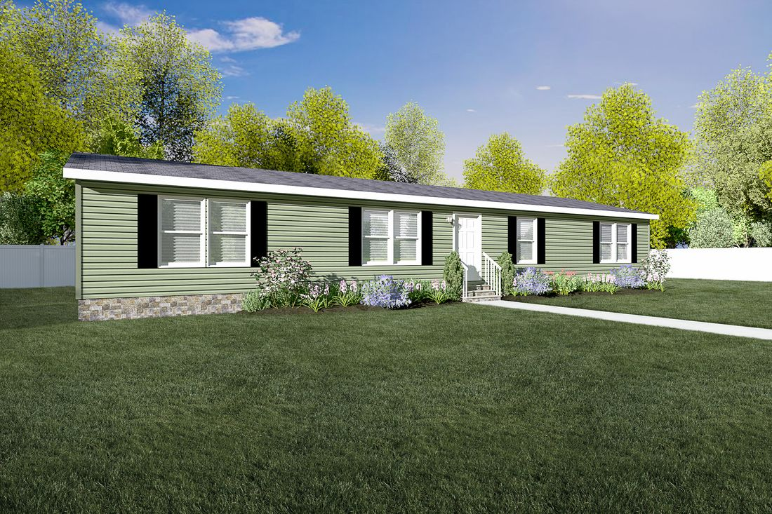 The SHEER ELM Exterior. This Manufactured Mobile Home features 3 bedrooms and 2 baths.